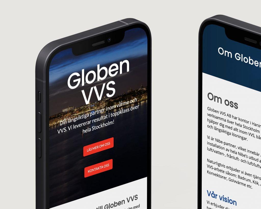 Två iPhones som visar Globen VVS hemsida